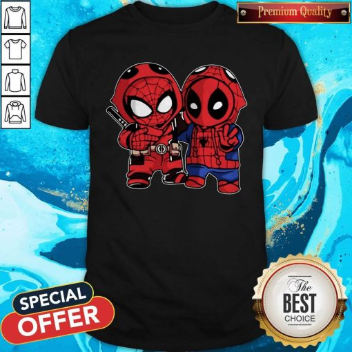 Official Baby Deadpool And Baby Spider Man Shirt