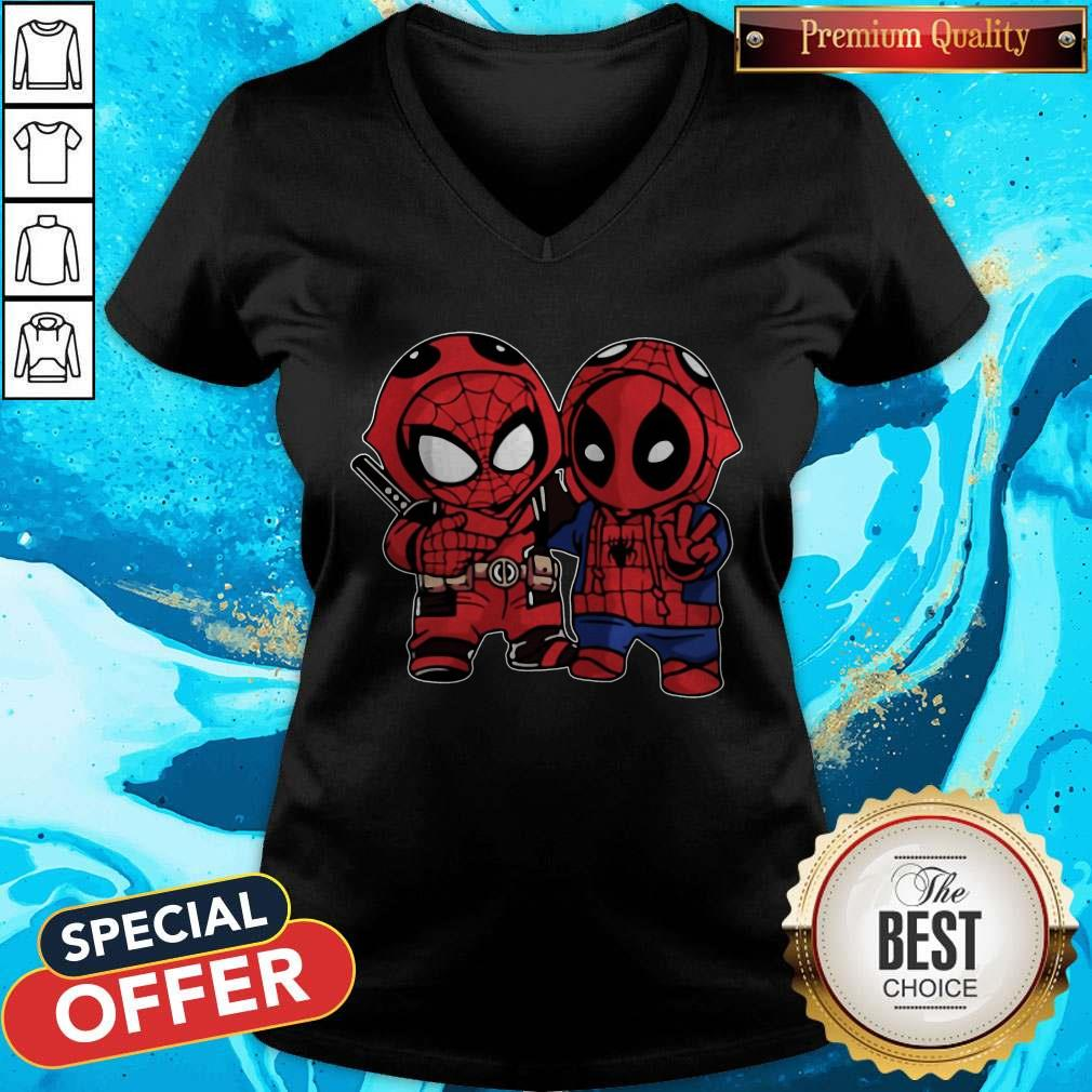 Official Baby Deadpool And Baby Spider Man V-neck