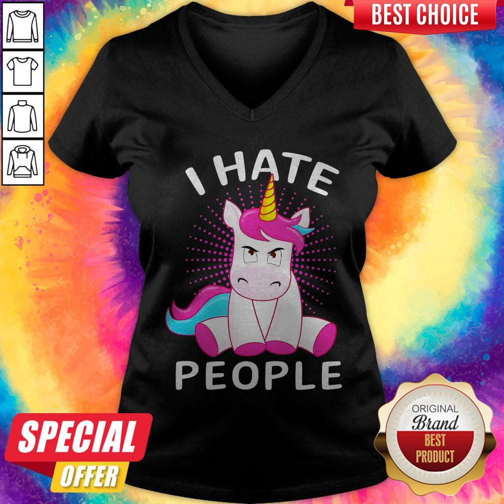 Official Baby Unicorn I hate People V-neck