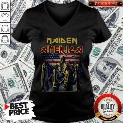 Official Maiden America Flag V-neck