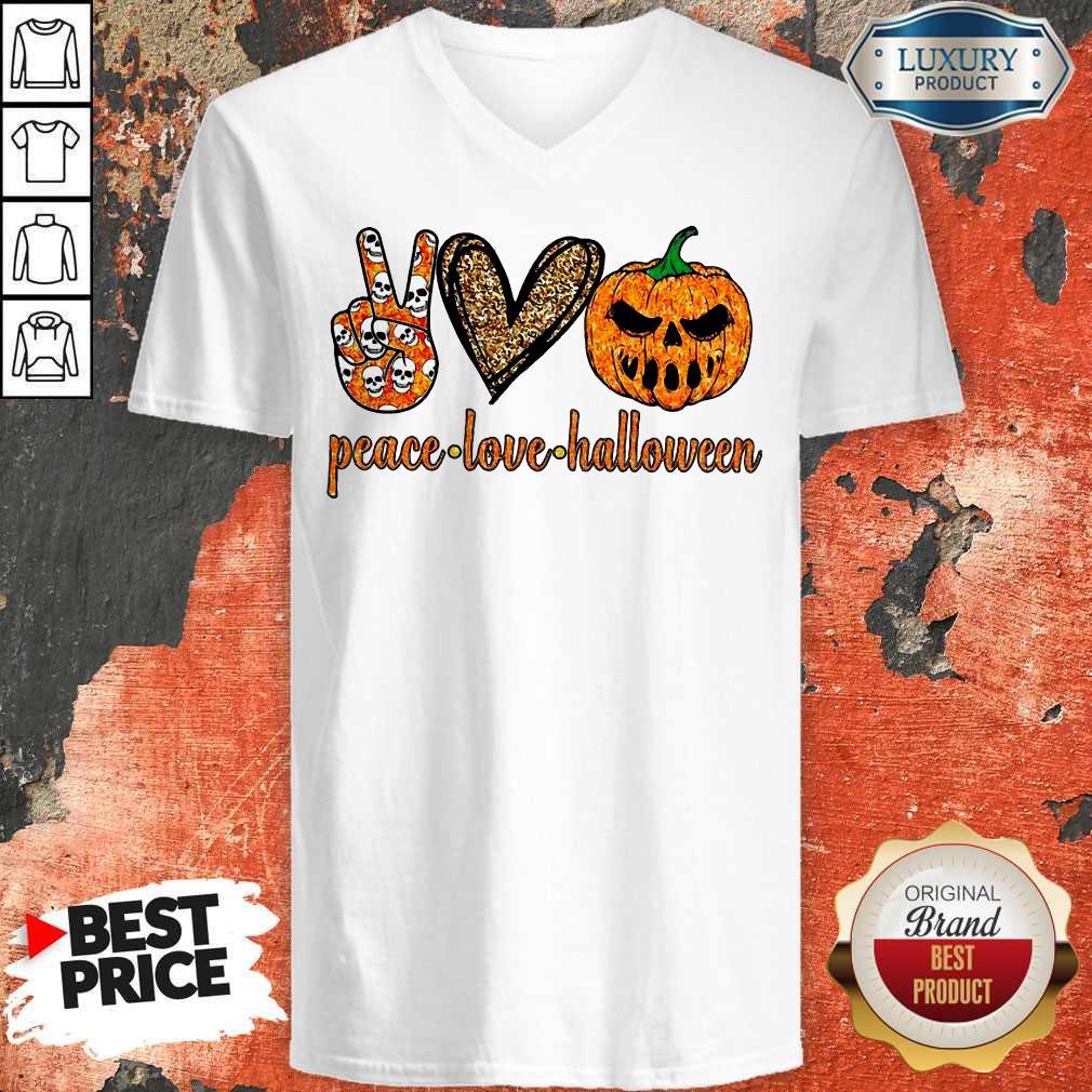 Official Peace Love Halloween V-neck