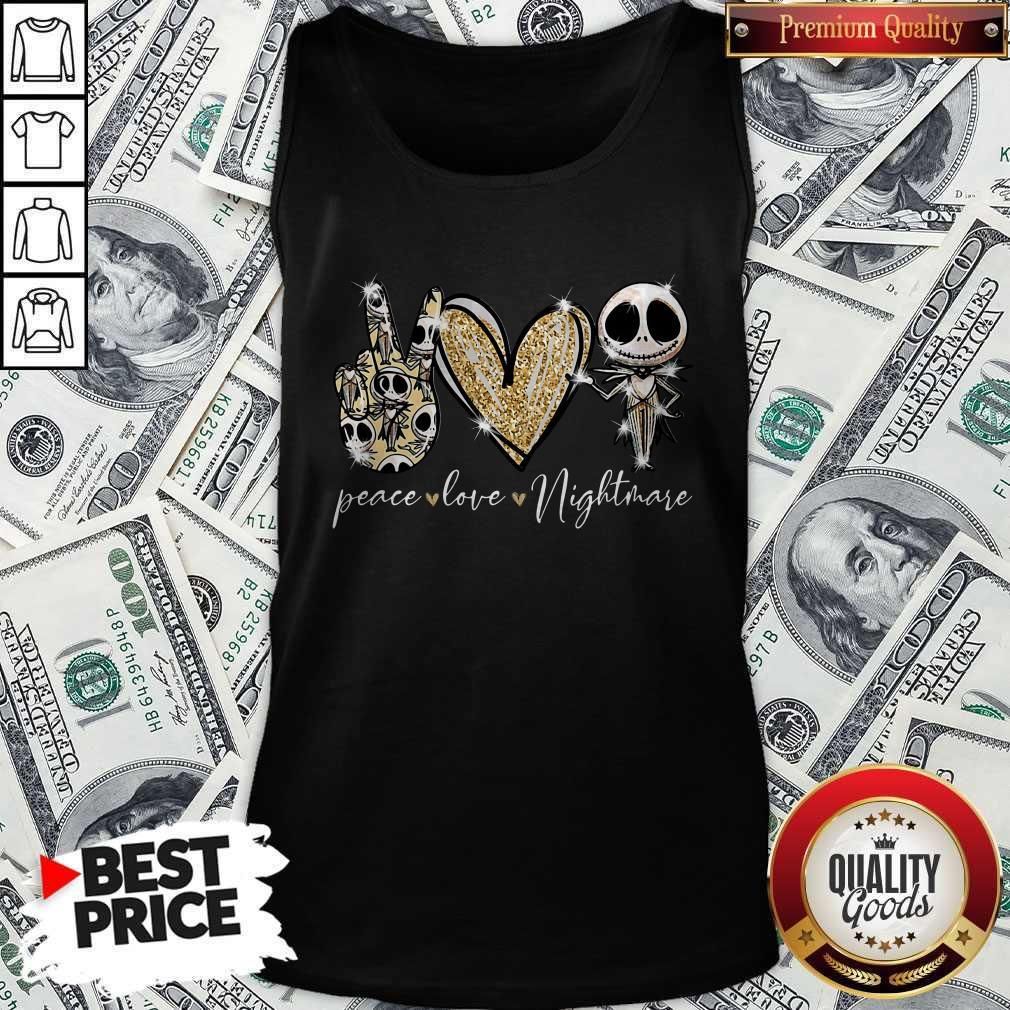 Official Peace Love Nightmare Skellington Diamond Tank Top
