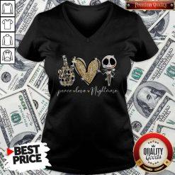 Official Peace Love Nightmare Skellington Diamond V-neck