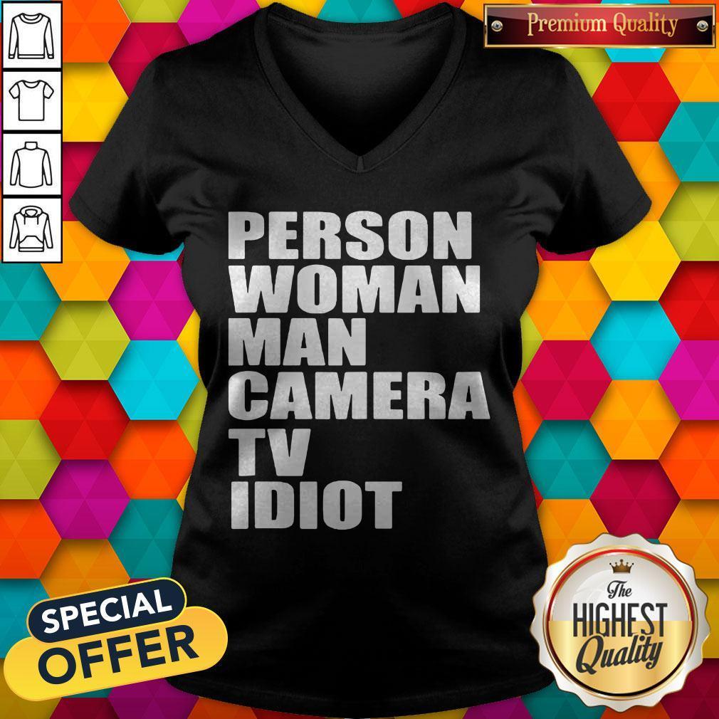 Person Woman Man Camera TV Idiot V-neck