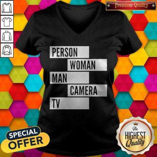 Person Woman Man Camera TV Words V-neck