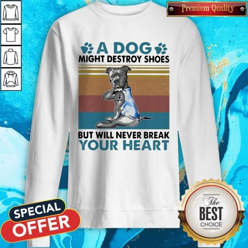 Pit Bull A Dog Might Destroy Shoes But Will Never Break Your Heart Vintage Sweatshirt