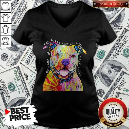 Pitbull Tattoo Beware Of PitBulls They Will Steal Your Heart V-neck