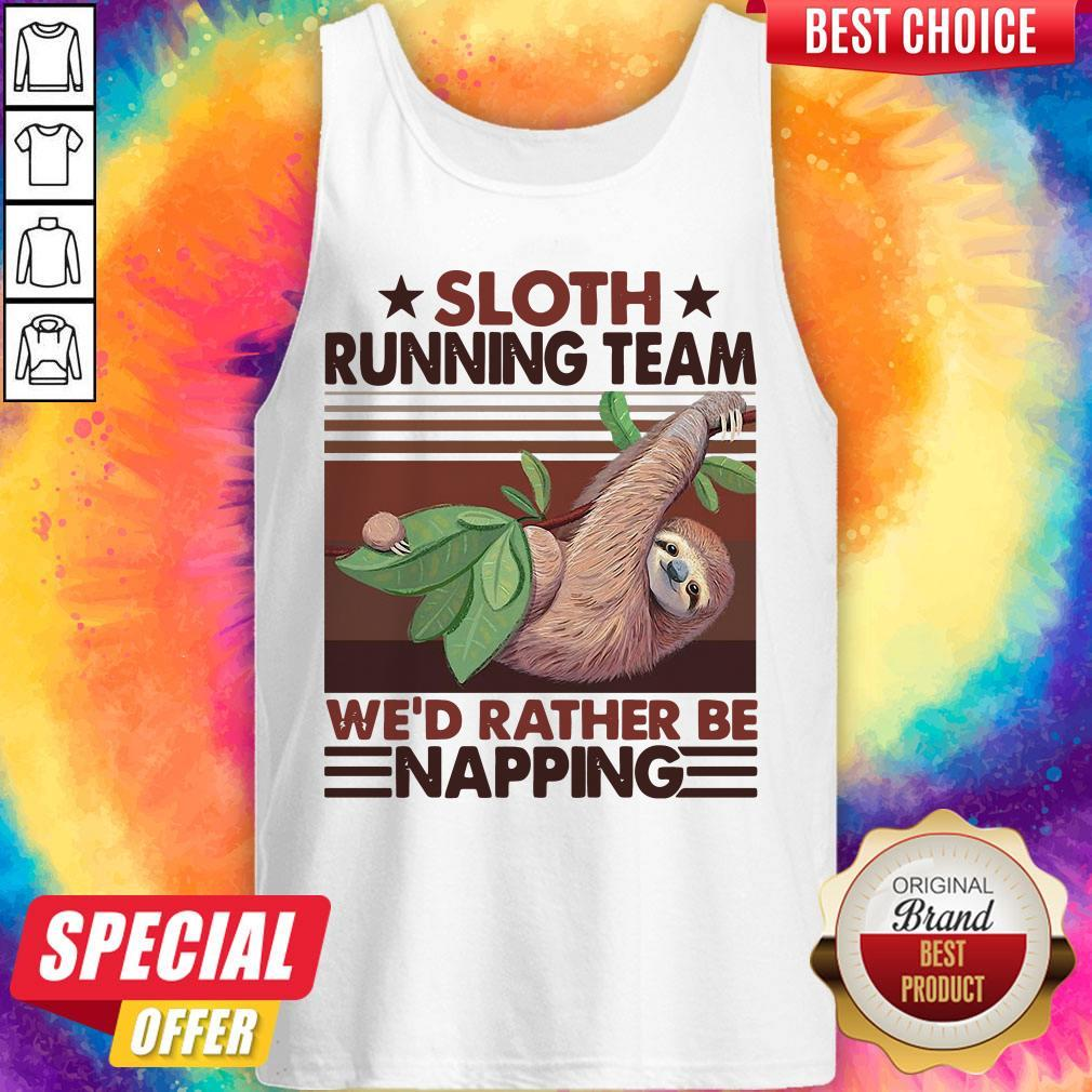 Sloth Running Team We'd Rather Be Napping Vintage Tank Top