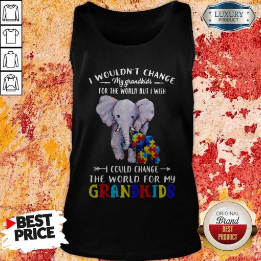 Elephants Autism I Wouldn't Change My Grandkids For The World But I Wish I Could Change The World For My Grandkids Tank Top