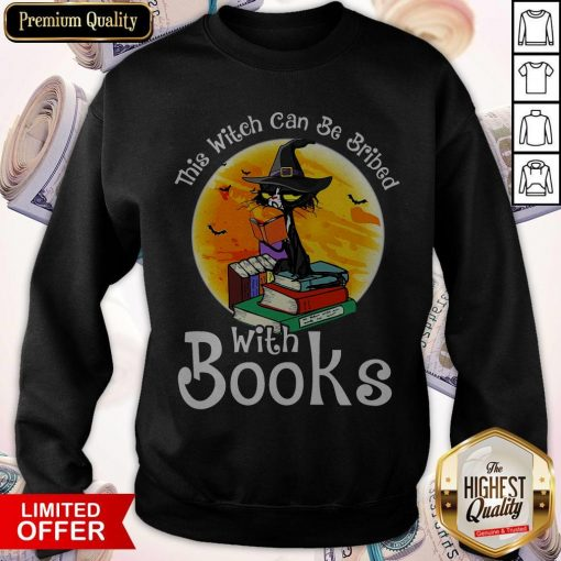 Black Cat This Witch Can Be Bribed With Books Halloween Sweatshirt