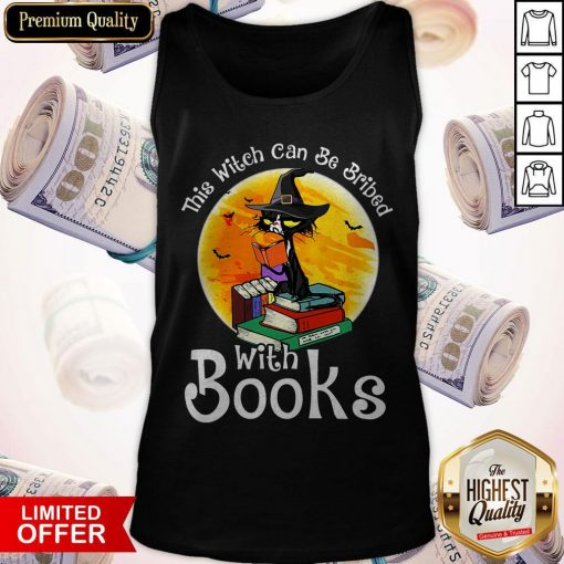 Black Cat This Witch Can Be Bribed With Books Halloween Tank Top