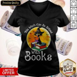 Black Cat This Witch Can Be Bribed With Books Halloween V-neck