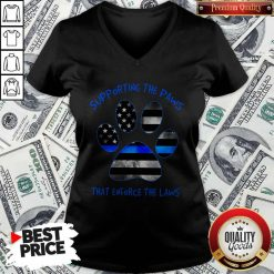 Dog Paw Supporting The Paws That Enforce The Laws American Flag V-neck