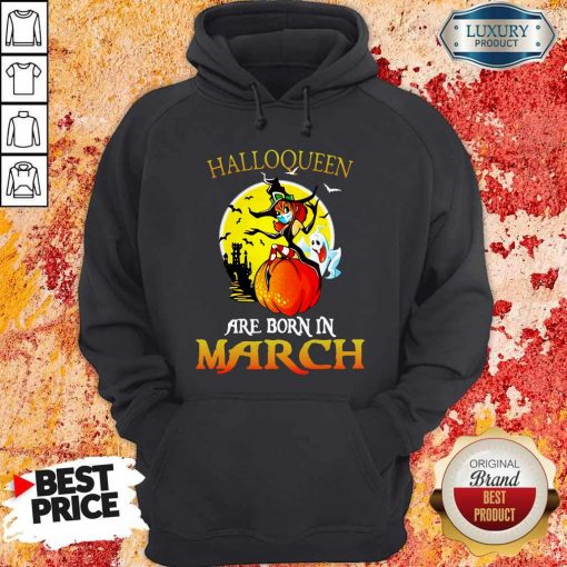 Halloqueen Are Born In March Ghost Witch Mask Hoodie