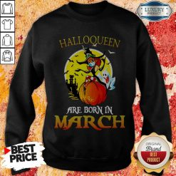 Halloqueen Are Born In March Ghost Witch Mask Sweatshirt