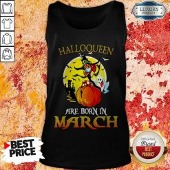 Halloqueen Are Born In March Ghost Witch Mask Tank Top