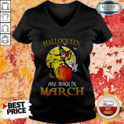 Halloqueen Are Born In March Ghost Witch Mask V-neck