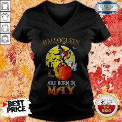 Halloqueen Are Born In May Ghost Witch Mask V-neck