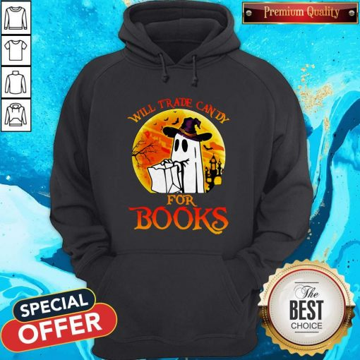 Halloween Boos Will Trade Candy For Books Moon Hoodie
