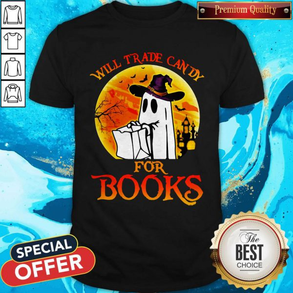 Halloween Boos Will Trade Candy For Books Moon Shirt