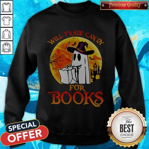Halloween Boos Will Trade Candy For Books Moon Sweatshirt