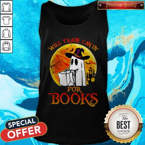 Halloween Boos Will Trade Candy For Books Moon Tank Top