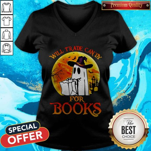 Halloween Boos Will Trade Candy For Books Moon V-neck