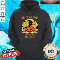 Halloween Cat Witch Will Trade Candy For Books Moon Hoodie