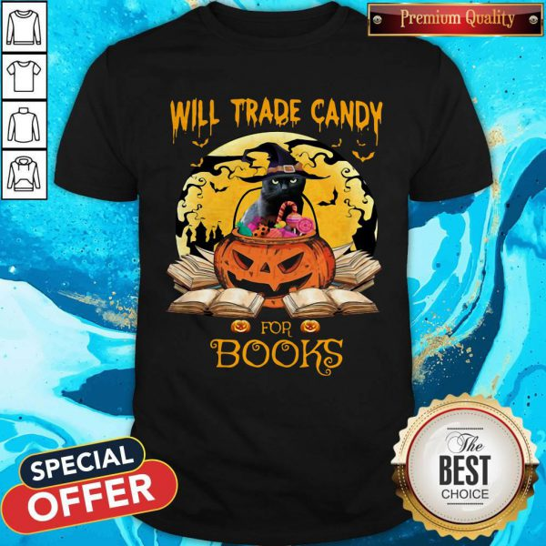 Halloween Cat Witch Will Trade Candy For Books Moon Shirt