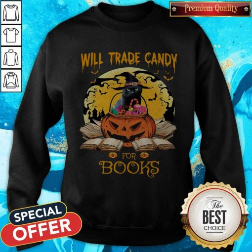 Halloween Cat Witch Will Trade Candy For Books Moon Sweatshirt