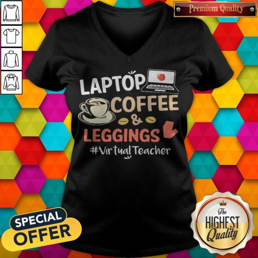 Laptop Coffee Leggings Virtual Teacher V-neck