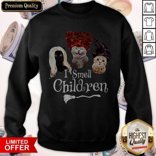 Official Cats Hocus Pocus I Smell Children Sweatshirt