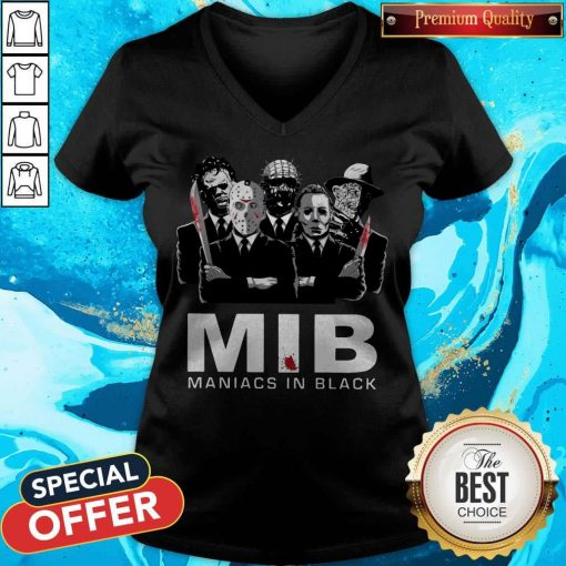 Official Horror MIB Maniacs In Black V-neck