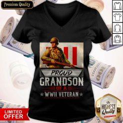 Proud Grandson Of A WWII Veteran V-neck