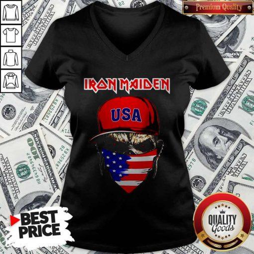 Skull Iron Maiden USA Flag Independence Day V-neck