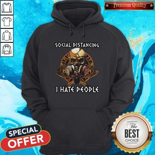 Skull Vikings Social Distancing I Hate People Hoodie