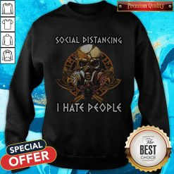 Skull Vikings Social Distancing I Hate People Sweatshirt