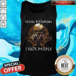 Skull Vikings Social Distancing I Hate People Tank Top