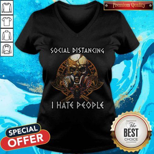 Skull Vikings Social Distancing I Hate People V-neck