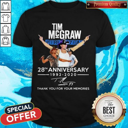 Tim Mcgraw 28th Anniversary 1992-2020 Thank You For The Memories T-Shirt