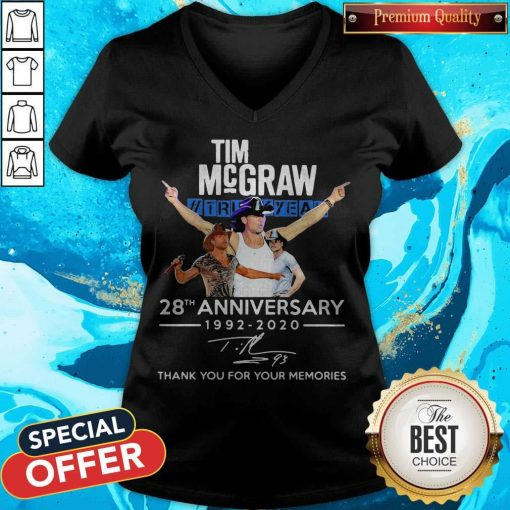 Tim Mcgraw 28th Anniversary 1992-2020 Thank You For The Memories V-neck