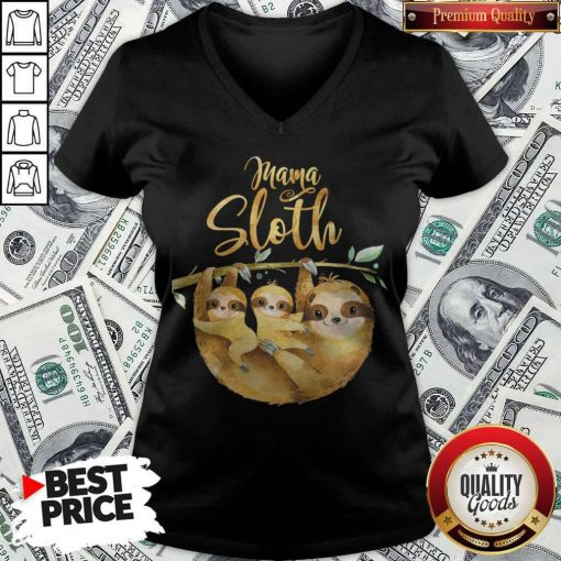 Womens Mama Sloth Cute Mothers Day V-neck