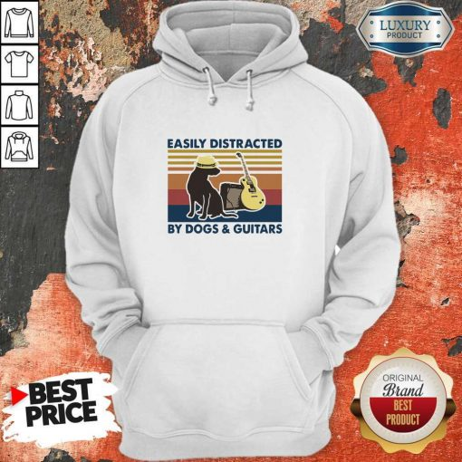 Easily Distracted By Guitar And Dog Vintage Hoodie