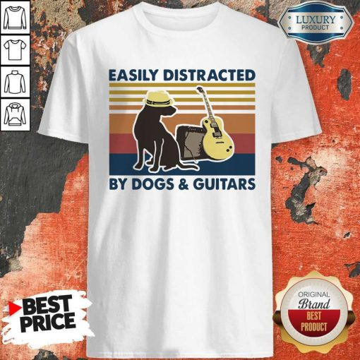 Easily Distracted By Guitar And Dog Vintage Shirt