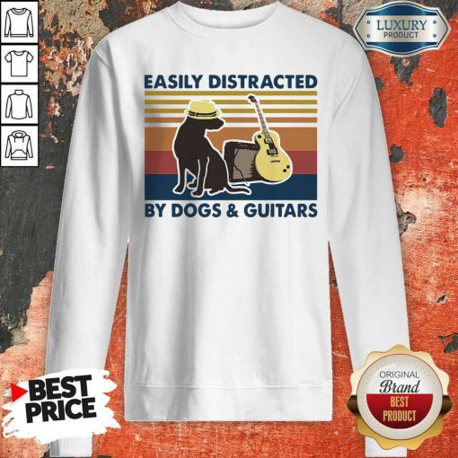 Easily Distracted By Guitar And Dog Vintage Sweatshirt