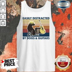 Easily Distracted By Guitar And Dog Vintage Tank Top