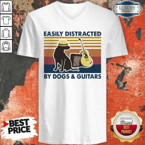 Easily Distracted By Guitar And Dog Vintage V-neck