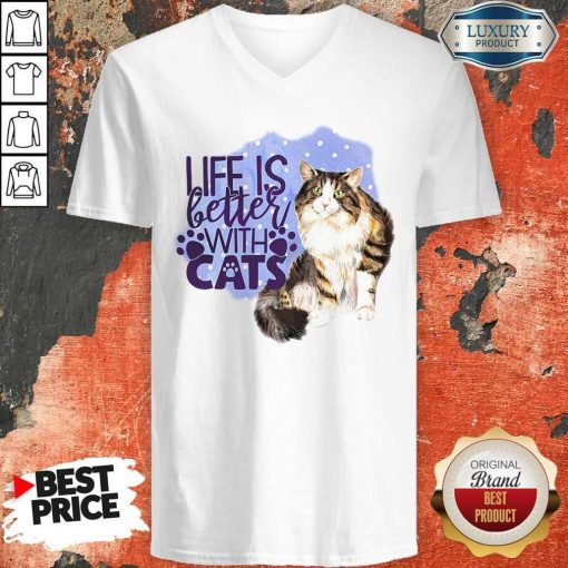 Good Life Is Letter With Cats V-neck