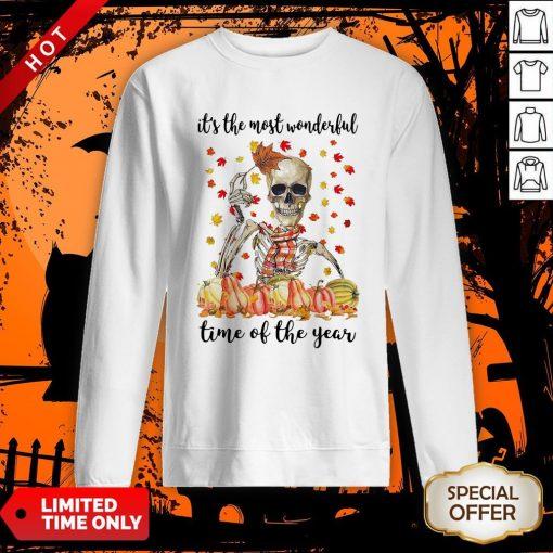 Halloween Skeleton It's The Most Wonderful The Year Maples Leaves Sweatshirt