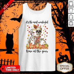 Halloween Skeleton It's The Most Wonderful The Year Maples Leaves Tank Top